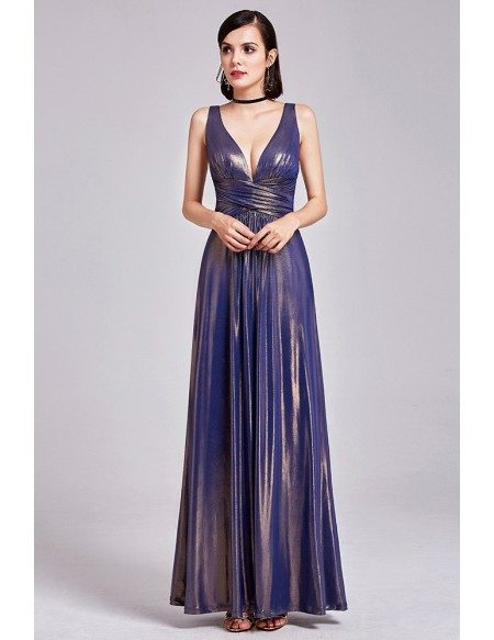 Shining Deep V Long Purple Gold Formal Dress