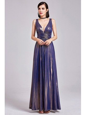 Shining Deep V Long Purple Gold Formal Dress