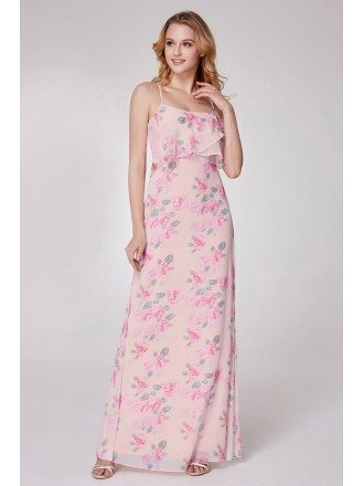 Pink Floral Printed Feminine Bridesmaid Dress Spaghetti