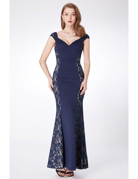 Navy Blue Long Mermaid Lace Evening Dress Sweetheart