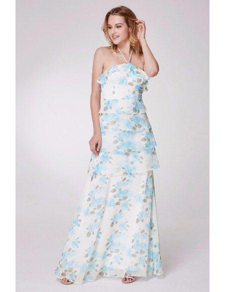 Layered Blue Floral Print Bridesmaid Dress Long Halter Strap