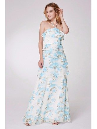 Layered Blue Floral Print Bridesmaid Dress Long Halter Strap