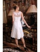 A-Line Strapless Short Organza Wedding Dress With Appliques Lace