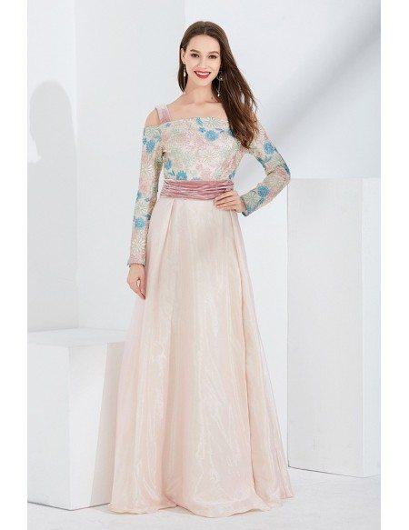 Long Slit Pink Embroidery Velvet Formal Dress With Off Shoulder Sleeves