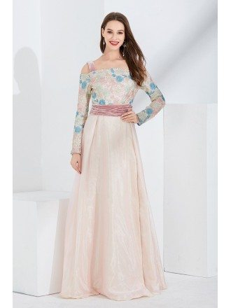 Long Slit Pink Embroidery Velvet Formal Dress With Off Shoulder Sleeves
