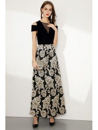Long Black Embroidery Floral Evening Dress With Cold Shoulder