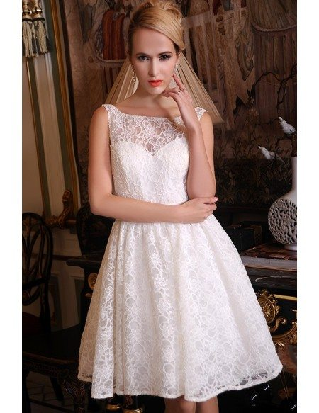 A-Line Scoop Neck Short Lace Wedding Dress With Bow