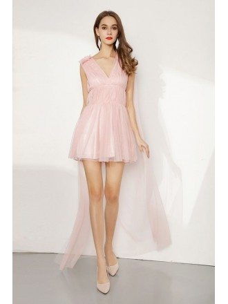 Junior's Hi Low Short Pink Tulle Party Dress V Neck