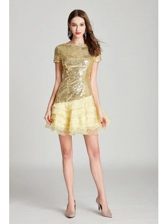 Shining Sequined Organza Gold Cocktail Prom Dress Modest