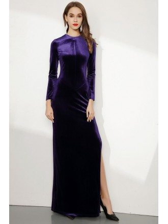 Long Sleeve Purple Fitted Velvet Evening Dress With Side Slit