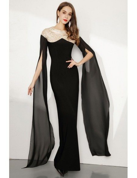 Black Long Slender Lace Party Dress With Flowing Sleeves