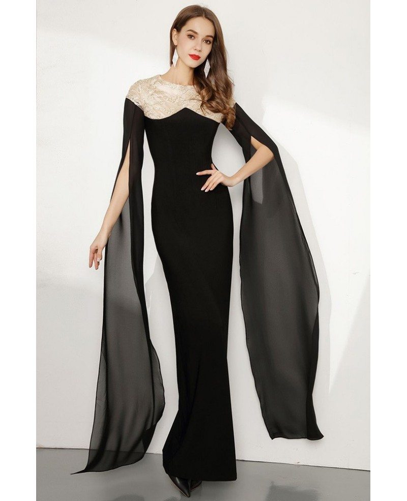 Black Long Slender Lace Party Dress With Flowing Sleeves Ck766 Gemgracecom