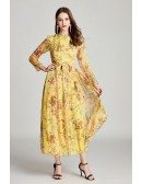 Modest Floral Print Yellow Madi Prom Dress With Long Sleeves