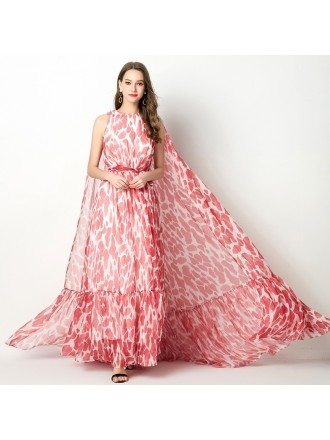 Long Chiffon Red Floral Printed Prom Dress With Puffy Cape Train