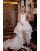 A-Line Sweetheart Asymmetrical Tulle Lace Wedding Dress With Beading Flowers