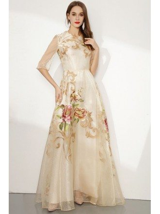 Long Champagne 1/2 Sleeved Organza Embroidery Formal Dress For Woman