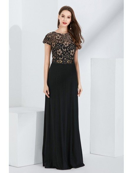 Black Long Lace Mother Of Bride Dress With Cap Sleeves