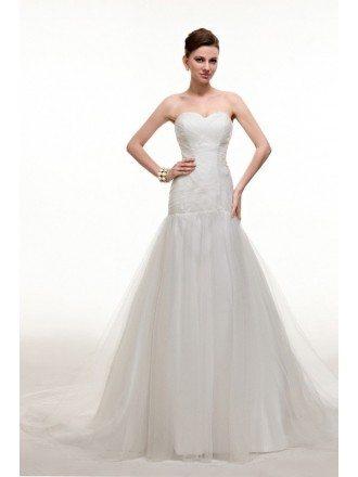 Pretty Pleated Taffeta and Tulle Corset Wedding Dress