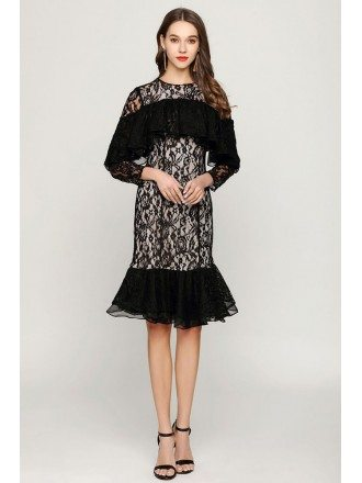 Knee Length Black Lace Prom Dress With Flounce Sleeves