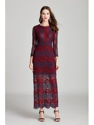Vintage Burgundy Lace Madi Formal Dress With 3/4 Sleeves