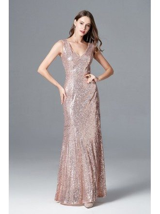 Sparkly Rose Gold Sequin Long Mermaid Prom Dress Sweetheart For Evening