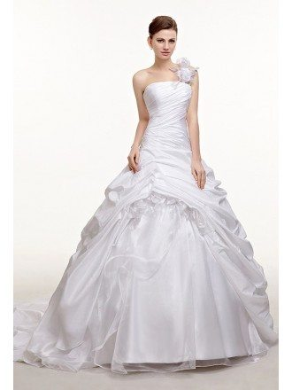 One Shoulder Ruffled Ballgown Taffeta Wedding Dress Train Length