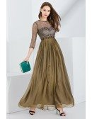 Pleated Chiffon Long Brown Prom Dress With Lace Bodice Sleeves