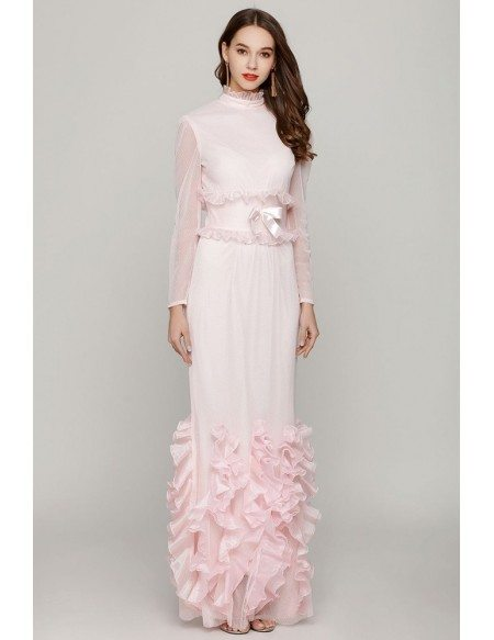 Light Pink Fishtail Tight Prom Dress Long Sleeves