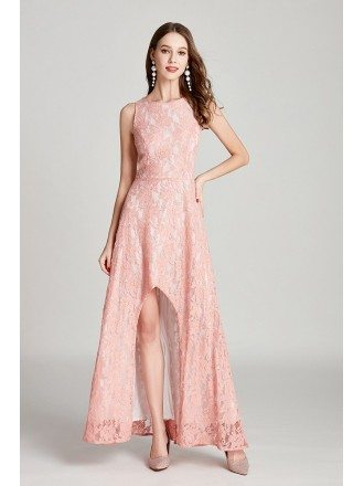 Pink Lace High Low Long Formal Dress Sleeveless For Woman