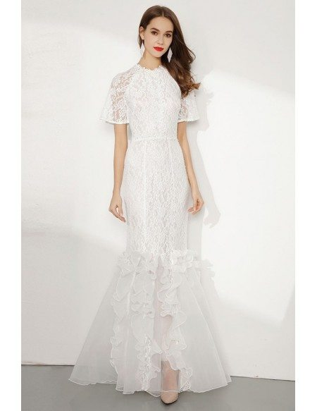Modest Long Lace White Mermaid Formal Dress With Short Sleeves