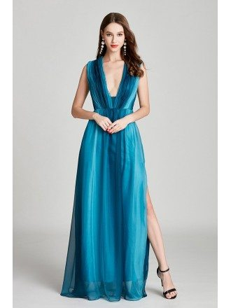 Plated Ombre Blue Chiffon Long Slit Prom Dress With Deep V Neck