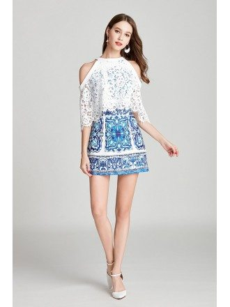 Blue And White Lace Cape Cocktail Prom Dress In Cold Shoulder