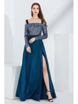 Off Shoulder Long Sleeves Blue Sequin Velvet Formal Dress With Slit