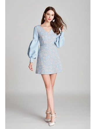 Short Blue Lace Cotton V Neck Prom Dress With Long Bubble Sleeves