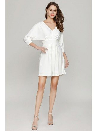 Simple Short White Dolman Sleeved Prom Dress V Neck For Girls