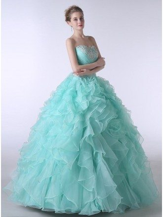 Ball-Gown Sweetheart Sweep Train Tulle Prom Dress With Cascading Ruffles Beading