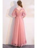 Pink Puffy Sleeves Aline Long Party Dress with Appliques
