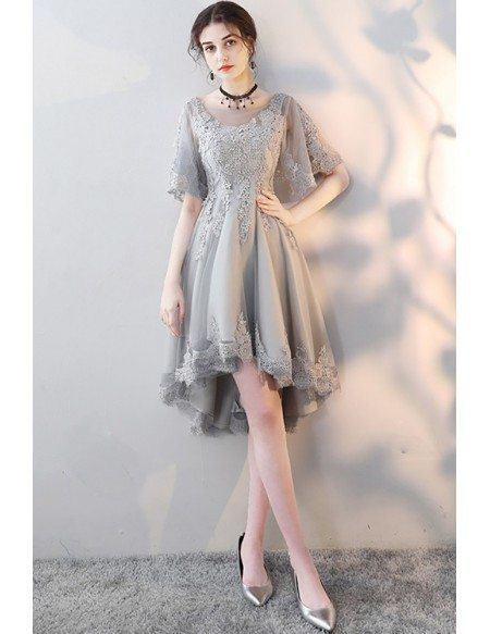 Grey Lace High Low Homecoming Party Dress with Butterfly Sleeves