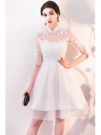 Retro White Lace and Tulle Party Dress with Sleeves