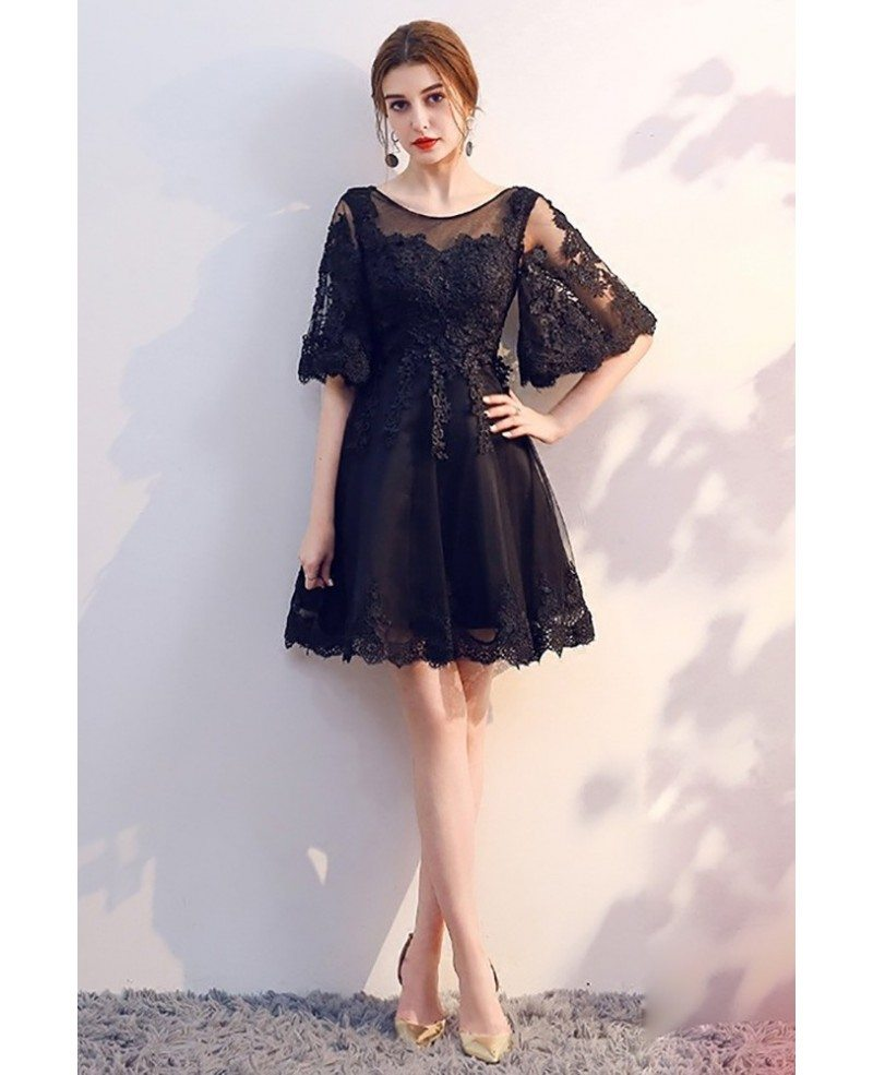 Short Black Lace Homecoming Party Dress With Sleeves Mxl86002 Gemgracecom
