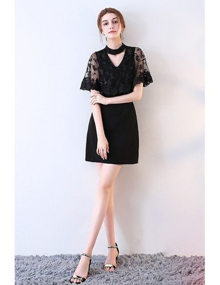 Little Black Lace Cocktail Party Dress with Cape
