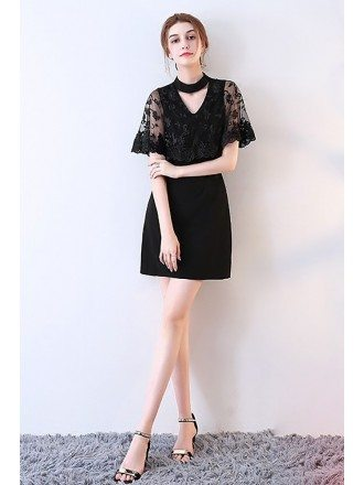 Little Black Lace Cocktail Party Dress with Cape
