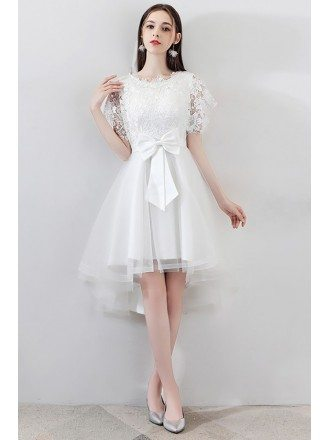 Gorgeous White Big Bow Tulle Party Dress High Low with Lace