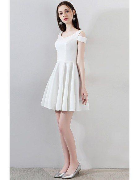 Simple Little White Short Homecoming Dress Aline