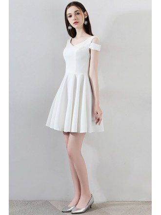 Simple Little White Short Homecoming Dress Aline
