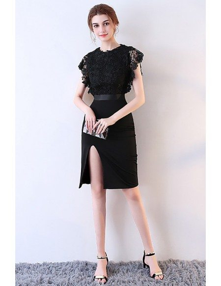 Sexy Black Lace Fitted Party Dress with Slit
