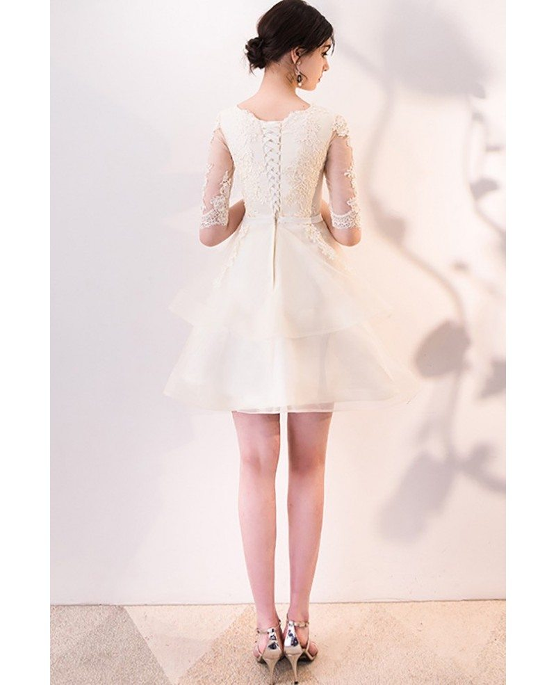 Champagne Lace Short Dress: Light Champagne Lace Short Party Dress With Sleeves