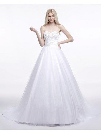 Ball-Gown Sweetheart Sweep Train Satin Prom Dress With Ruffles Beading