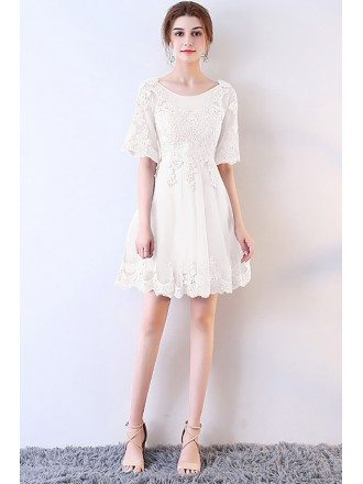Short White Lace Aline Party Dress with Sleeves