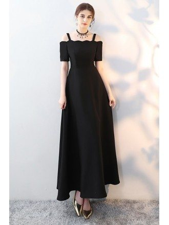 Simple Long Black Formal Dress Aline with Straps Sleeves